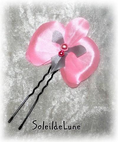Orchidée satin rose et grise